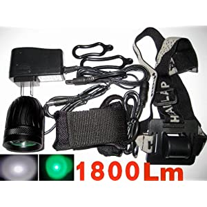 New Super Bright Cree T6 Led And Green R5 Led 1800 Lumens Headlight Bicycle Headlight Set