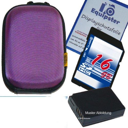 Canon Digital Ixus 125 HS Zubehör Set / Bundle / Sparpaket mit stylischer Hartschalentasche in lila / violett inklusive 16GB SDHC Speicherkarte Akku für NB-11L und Equipster Displayschutzfolie