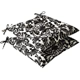 Pillow Perfect Indoor/Outdoor Black/Beige Damask Tufted Seat Cushion, 2-Pack