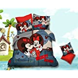 Renown Beautiful Mickey Mouse Print Cotton Satin Double Bedsheet For Kids With 2 Pillow Covers
