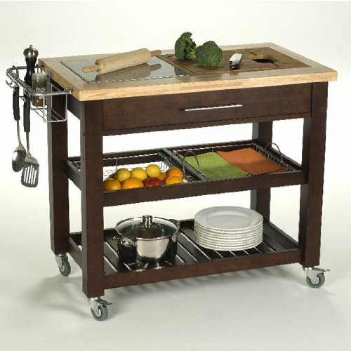 Chris&Chris 1953-E Pro Chef Food Prep Station Kitchen Island, Espresso Finish (Shown Here In Natural) front-520957