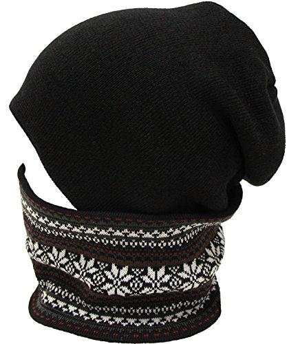 雪柄ノルディックニットワッチ ネックウォーマー(ニット帽 ニット帽子) ブラックワイン