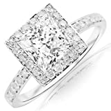 1 Carat Princess Cut/Shape 14K White Gold Classic Halo Style Pave Set Princess Cut Diamond Engagement Ring (H-I Color , SI2 Clarity)