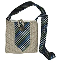 Small Recycled Passport or Hip Bag - Made from Recycled Suit and Tie (Multi Bag - Blue Stripe Tie)