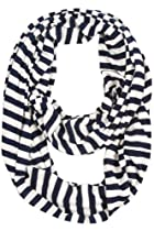Heidi Striped Infinity Scarf - Navy Blue/White