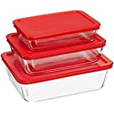 6 Piece Bakeware/Cookware Set with Red Plastic Covers (Red, 5)