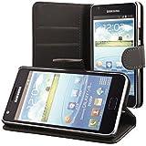 ECENCE  11010203 Samsung Galaxy S2 i9100 S2 Plus i9105 handy tasche case Brieftasche Wallet klapp schutz hülle cover schwarz inklusive Displayschutzfolie