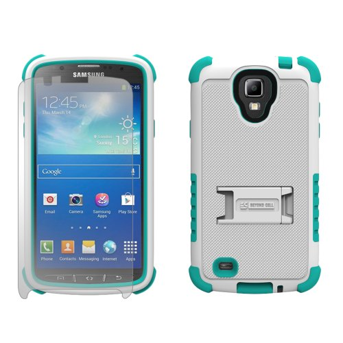 Beyond Cell Tri Shield® Durable Hybrid Hard Shell & Silicone Gel Case For Samsung Galaxy S4 Active I9252/I537 - White/Light Blue - Retail Packaging + (Free Gift Beyond Cell Screen Protector & Micro Usb Data Cable Included)