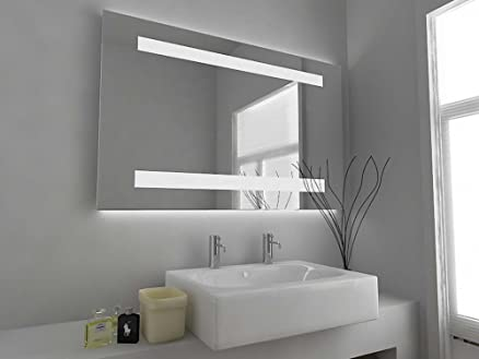 Moderno Specchio Design specchio illuminato da bagno con sensore, Sbrinatore Cuscinetto e Presa Per Rasoio C8302H Vetro Trasparente 600mm x 920mm