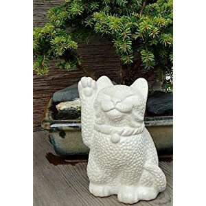 Stone Maneki Neko Lucky Cat Sculpture