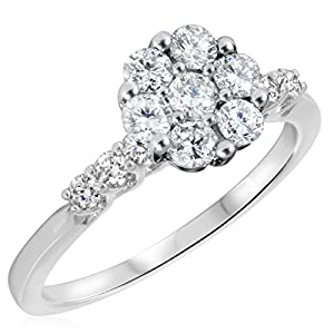 7/8 CT. T.W. Diamond Ladies Engagement Ring 14K White Gold- Size 7.25