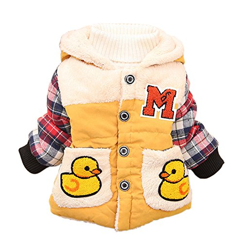 Dark Pocket Baby Girls Boy Kids Autumn Winter Coat Hoodie Jacket Outwear Clothes (1-2 Years, Yellow) front-109139