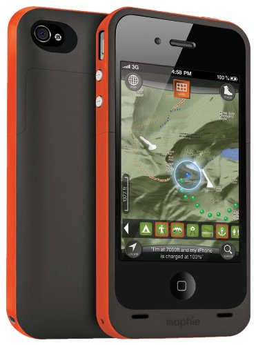 Mophie Juice Pack Plus Outdoor Edition with Rechargeable External Battery Case and Outdoor Wayfinding App for iPhone 4 - Retail Packaging - Orange