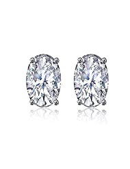 92.5 Elegant Silver White Elegant Oval Stud Earrings Made With Swarovski Zirconia By Mahi ER3102003Whi