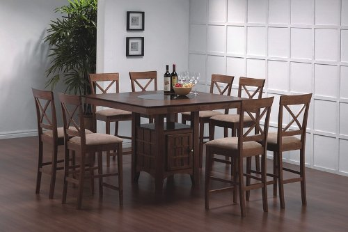 Buy Low Price Coaster 9pc Counter Height Dining Table w/Lazy Susan & 8 Croos Back Stools Set (VF_Dinset-101438-101229)