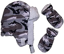 N\'Ice Caps Boys Soft Sherpa Lined Camo Print Trooper Hat And Mitten (6-12 months, black/grey/white camo)