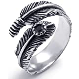 Konov Jewellery Fancy Stainless Steel Band Cubic Zirconia Unisex Feather Ring, Mens, Womens, Color Silver Black (with Gift Bag)