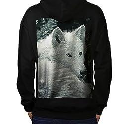 White Wolf Look Predator Dog Men Black Hoodie Back S-5XL | Wellcoda