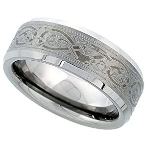 8mm Tungsten Wedding Band Etched Celtic Dragon Pattern Beveled Edges Comfort fit, size 7