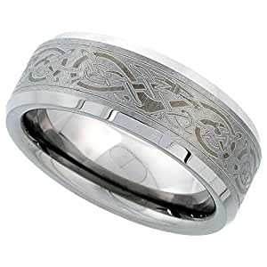 8mm Tungsten 900 TM Wedding Ring Etched Celtic Dragon Pattern Beveled Edges Comfort fit, size 7