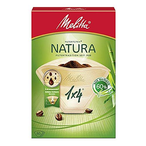 Sacchetti filtro Melitta Natura 1x4, 3 Amazzoni, bambù, marroni naturali, 80 pezzi
