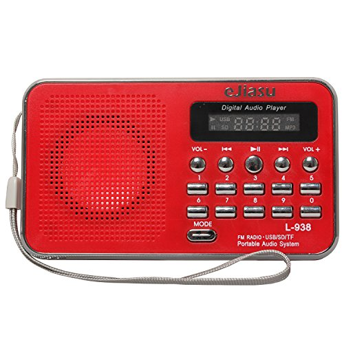Gtide Mini Digital FM Radio Media Speaker MP3 Music Player Support Micro SD/TF Card /USB Disk Input with LED Screen Display for iPhone 6/6s/se (Red)