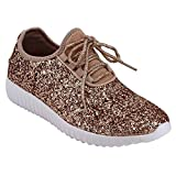 Forever Link Womens Closed Round Toe Sparkling Glitter Lace Up Fitness Trainer Gym Fashion Sneakers 6 Rose Gold