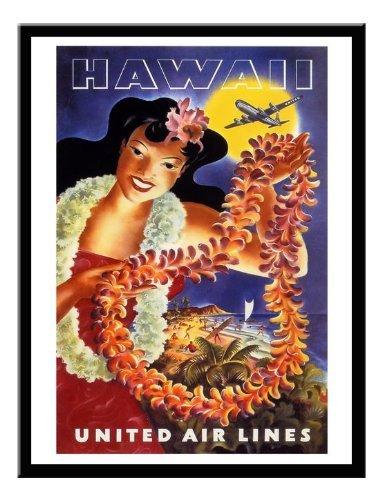 hawaii-united-airlines-travel-stampa-magnetico-lavagnetta-nero-con-cornice-41-x-31-cms-circa-406-x-3
