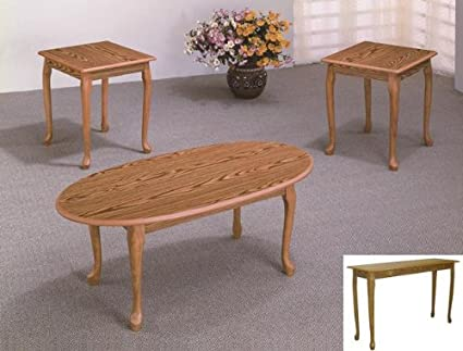 Brand New 3-pk Classic Style Coffee Table and End Tables Cocktail set-Oak Finish