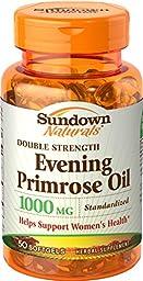 Sundown Naturals Evening Primrose Oil, Standardized, Double Strength, 1000 mg, 50 Softgels (Pack of 3)