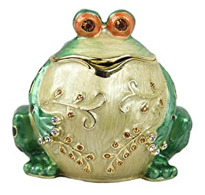 Lovely Authentic Rucinni Frog Swarovski Crystal Trinket Jewelry Box - H1739