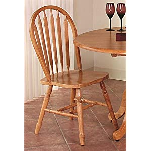 38 in. Arrowback Chair Set of 2 (Light Oak)