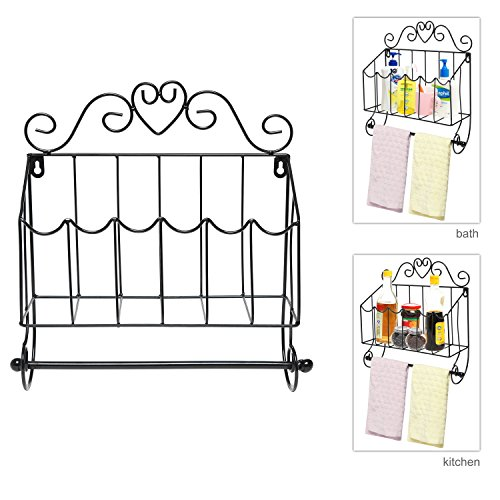 Black Metal Scrollwork Design Wall Mounted Mail Organizer / Towel Hanger / Kitchen Storage Rack - MyGift®