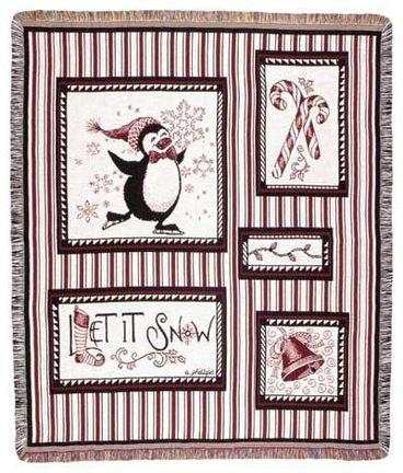 "Snow Penguins 50"" X 60"" Holiday Tapestry Throw Blanket From Simply Home front-969068"