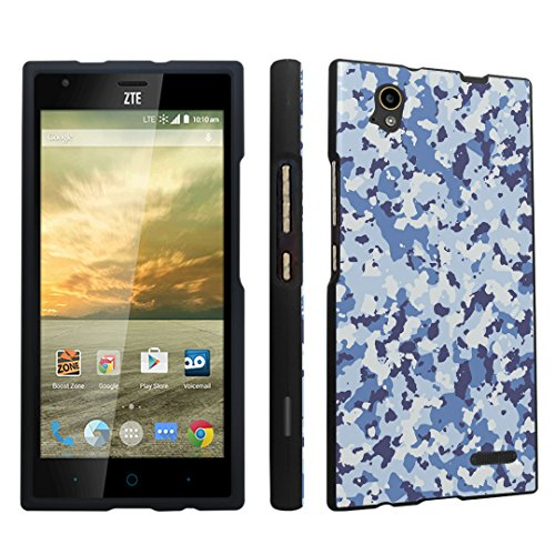 DuroCase ZTE Warp Elite N9518 Boost Mobile Released in 2015 Hard Case Black - Camouflage Blue