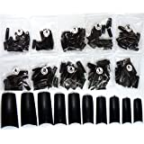 500 pcs Faux ongle Capsule Tips Pied French Nail Art Noir