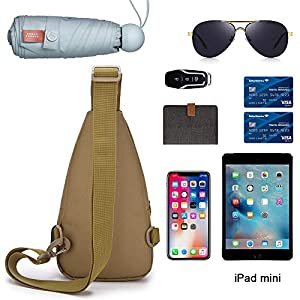 OuTrade Sling Bag Waterproof Lightweigt Chest Shoulder Backpack Cross Body Travel Slim Backpack Multipurpose Daypacks Hiking Daypack with USB Charging Port, Earphone Port for Men & Women