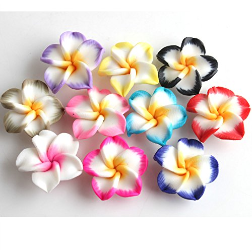 YARUIE Random Mixed 40Pcs 20mm Flower Fimo Polymer Clay Spacer Beads Findings