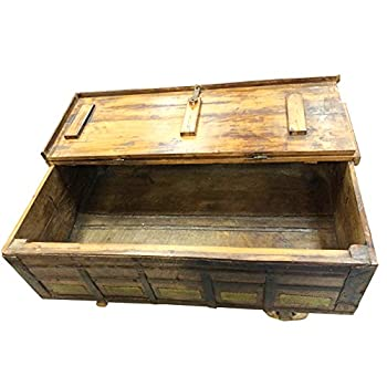 Antique Trunk Chest on Wheels Coffee Table Brass Cladded