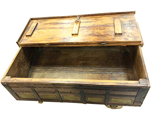 Antique Trunk Chest on Wheels Coffee Table Brass Cladded 1