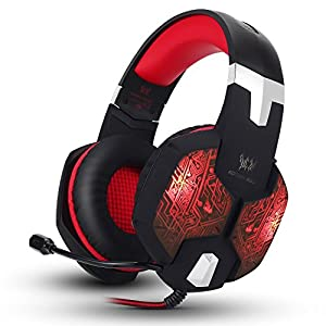 Aizbo 3.5mm Stereo Gaming Headset LED Over-Ear Headphone USB Headset with Mic for PC Computer Laptop (Red)