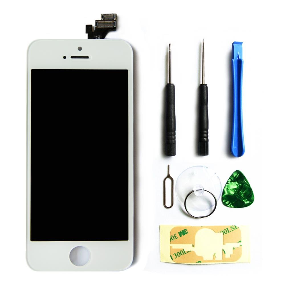 ZTR LCD Touch Screen Digitizer Frame Assembly Full Set LCD Touch Screen Replacement for iPhone 5S - White