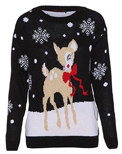 Style Divaa -  Maglione  - Maniche lunghe  - Donna Nero  Bambi-Black