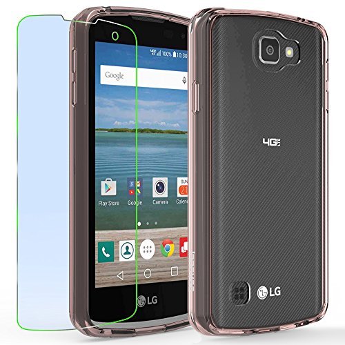LG Optimus Zone 3 / K4 / Spree Case, INNOVAA Luminous Crystal Clear Series Bumper Case W/ Free Screen Protector & Touch Screen Stylus Pen - Clear Pink