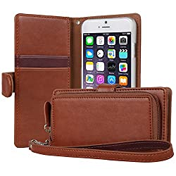 iPhone 6S Case, TORU [ZIP WALLET] iPhone 6S Wallet Case [CARD SLOT] [ZIPPER POUCH] [WRISTLET] Premium Synthetic Leather Flip Cover with Strap for Apple 4.7 Inch iPhone 6S (2015) / iPhone 6 (2014) - Brown (116TZPW-BR)