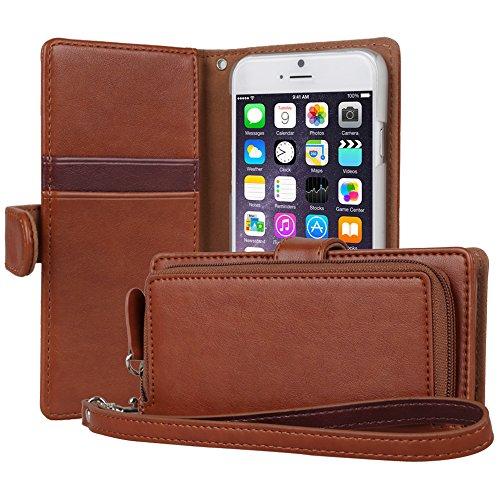 iPhone6s ケース「iPhone6 ケース」手帳型「人気」ジッパーポケット「カードホルダー」suica「ストラップ付」ストラップホール「プレミアム合皮レザー」フリップケース「アイフォン6sケース」アイフォン6ケース「スマホケース」おしゃれ‐ブラウン(4.7 インチ)「TORU」