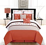 8 Piece Queen Arianna Orange/Beige Comforter Set