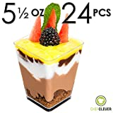 Dessert Cups - Mini Cubes, Clear Tasting Sample Glass, 24Ct Large 5.5oz Containers, Elegant Square Plastic Bowls, Disposable, Appetizers, Shooters, Chocolate Parfait, Jello Shot & Catering Supplies