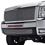 E-Autogrilles 09-13 Chevrolet Silverado 1500 / 07-10 Chevrolet Silverado 2500HD / 07-10 Chevrolet Silverado 3500HD 1PC 4mm Horizontal Center Bumper Billet Grille (36-0105)