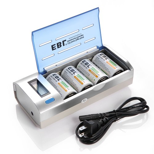 EBL 906 LCD Universal C D AA AAA 9V Battery Charger with 10000mAh D Rechargeable Batteries (4 Pack) (D Battery Rechargeable compare prices)